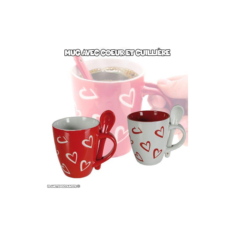 tasse mug avec cuill re tasse coeur avec petite cuill re. Black Bedroom Furniture Sets. Home Design Ideas