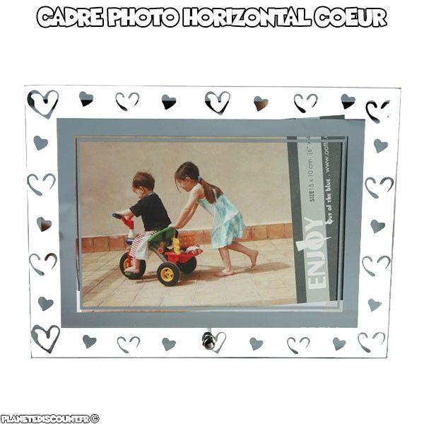 Cadre photo horizontal en verre avec coeurs argentés