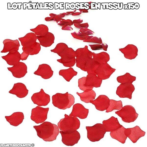 Pétales de roses rouge en tissu x150