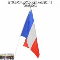 Drapeau avec baguette - FRANCE 45 x 30 cm