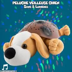Peluche veilleuse chien avec mélodies et lumières