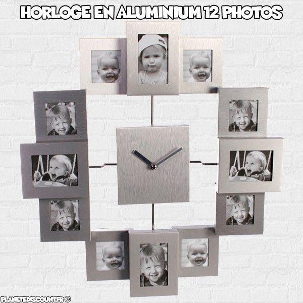 Horloge murale en aluminium 12 cadres photo
