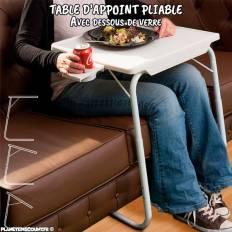 Table d'appoint pliable avec dessous de verre