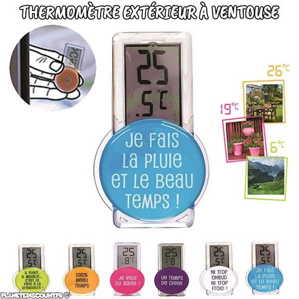 Thermomètre extérieur à ventouse, digital