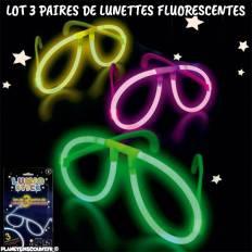 lot de 3 paires de lunettes fluorescentes