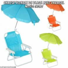 Chaise pliante de plage avec parasol enfant