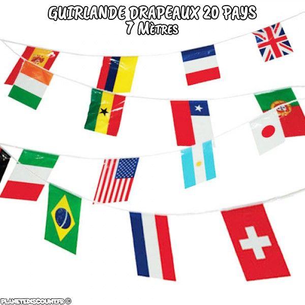 Guirlande drapeaux 7 mètres - 20 pays