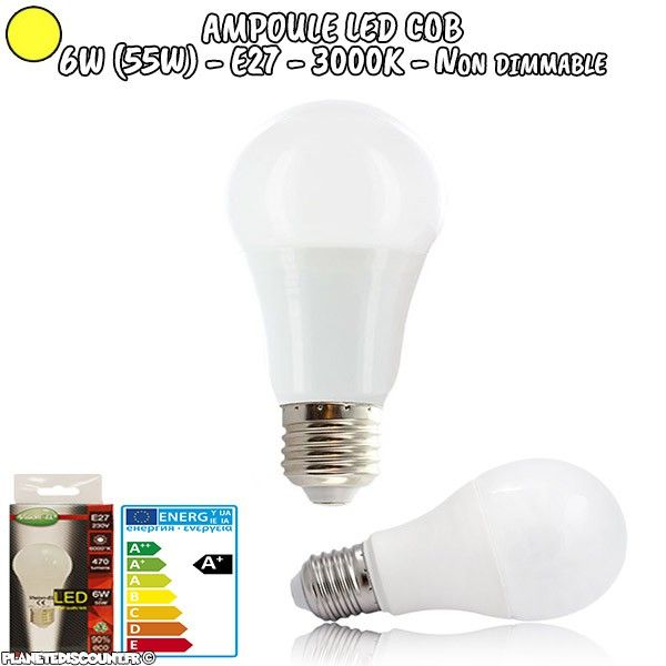 Ampoule LED COB - E27 - 6W - Blanc chaud