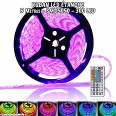 Ruban flexible étanche à LED multicolore 5M