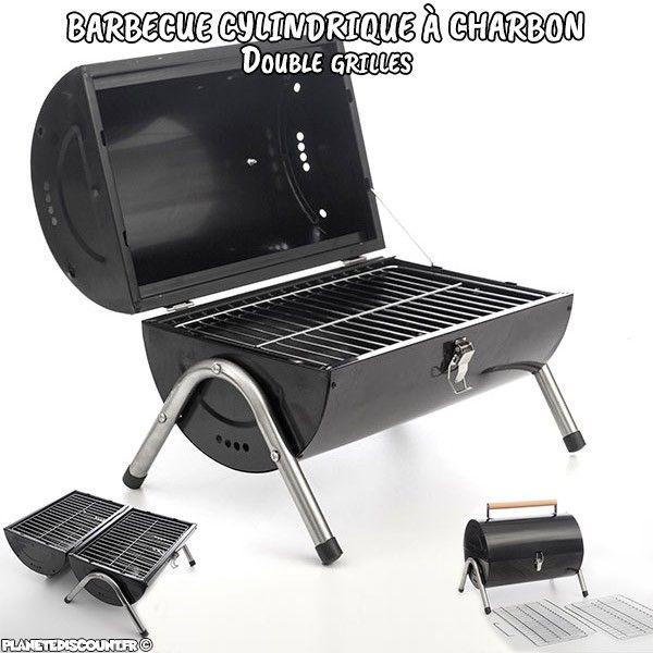 Barbecue cylindrique à charbon double grilles