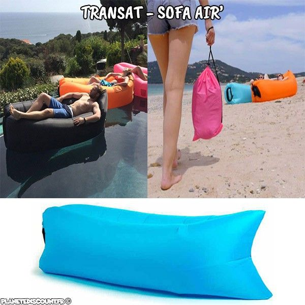 Transat / Sofa / Pouf Air auto-gonflable - Bleu