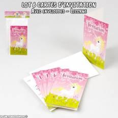 Lot de 6 cartes d'invitation de fête avec enveloppes - Licorne