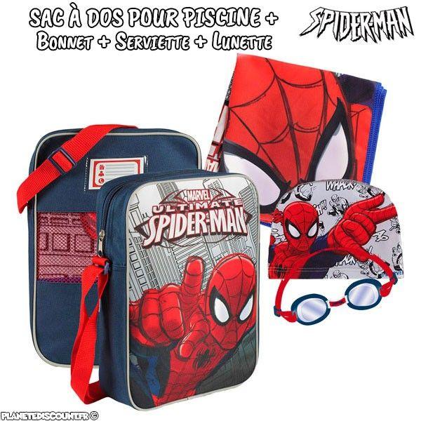 Sac à dos avec accessoires de piscine Spider-man (4 pièces)