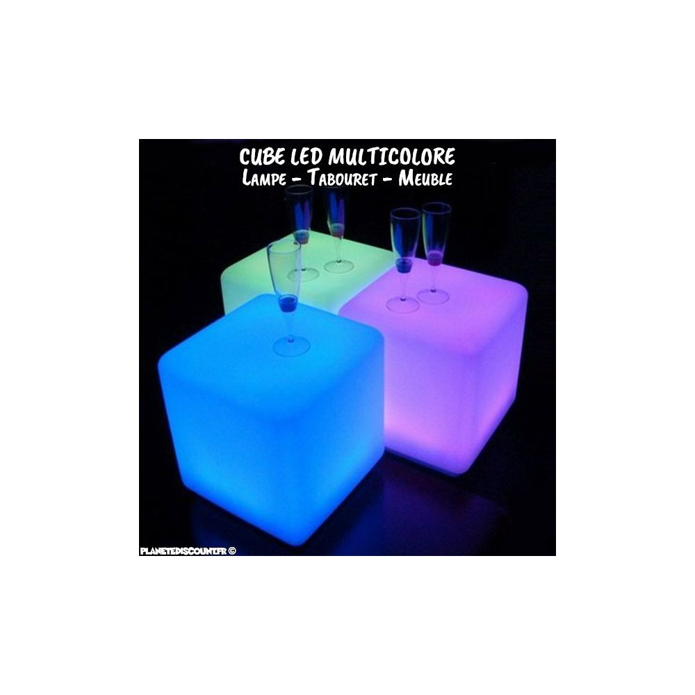 lampe cube led cube lumineux 30 x 30 cm sans fil multicolore pas cher. Black Bedroom Furniture Sets. Home Design Ideas
