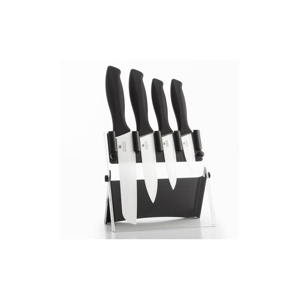couteaux couteaux en c ramique avec support 5 pi ces eh pas cher. Black Bedroom Furniture Sets. Home Design Ideas