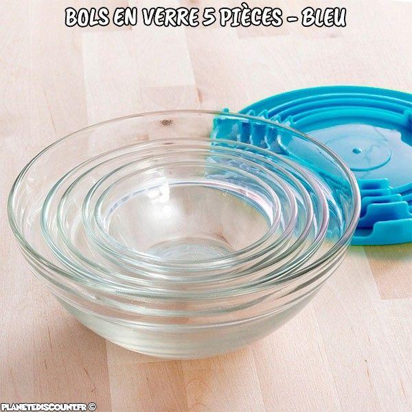 Bols en verre avec couvercles bleus (5 pièces)