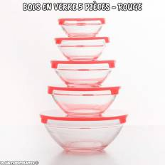Bols en verre avec couvercles rouges (5 pièces)