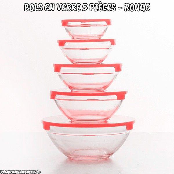 Bols en verre avec couvercles rouges 5 pièces