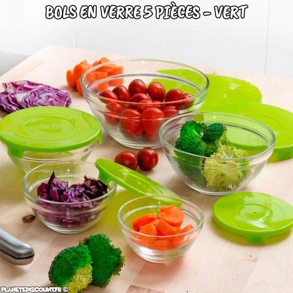 Bols en verre avec couvercles verts 5 pièces