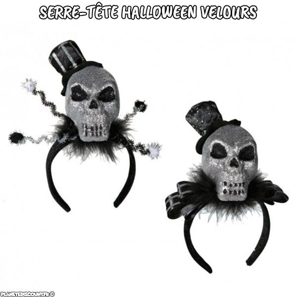 Serre-tête halloween velours tête de mort