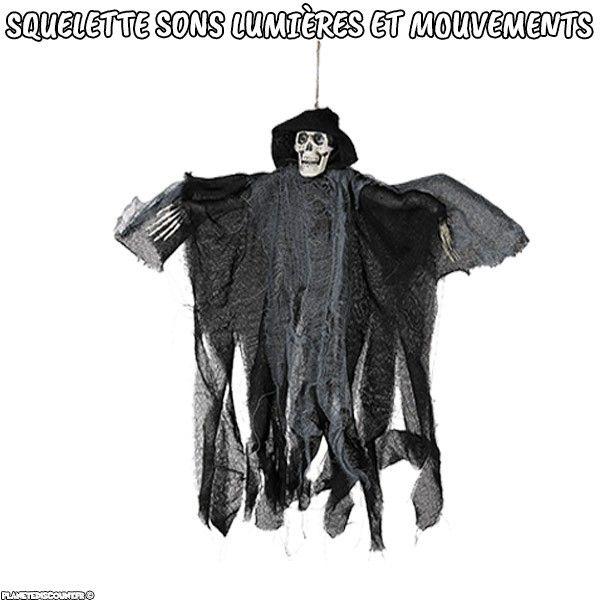 Squelette Halloween à suspendre avec sons lumières et mouvements