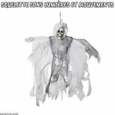 Squelette Halloween à suspendre avec sons lumières et mouvements Blanc