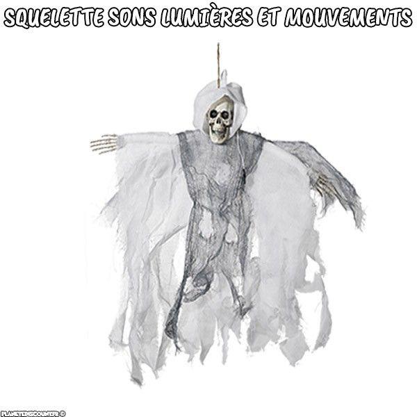 Squelette Halloween Blanc à suspendre avec sons lumières et mouvements