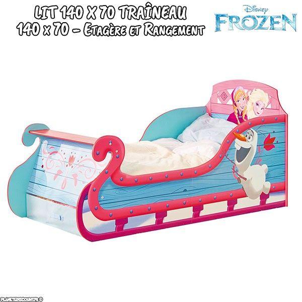 Lit enfant Reine des Neiges Traîneau avec rangement Disney