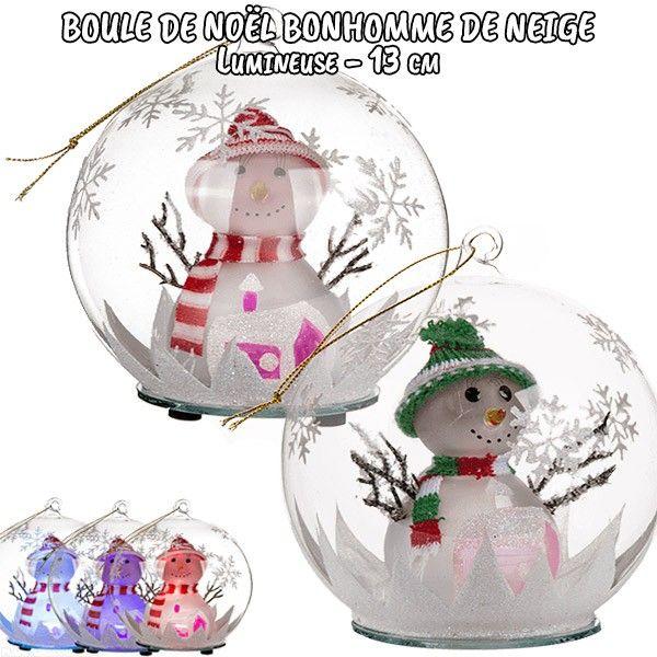 Boule de noël en verre lumineuse Bonhomme de neige