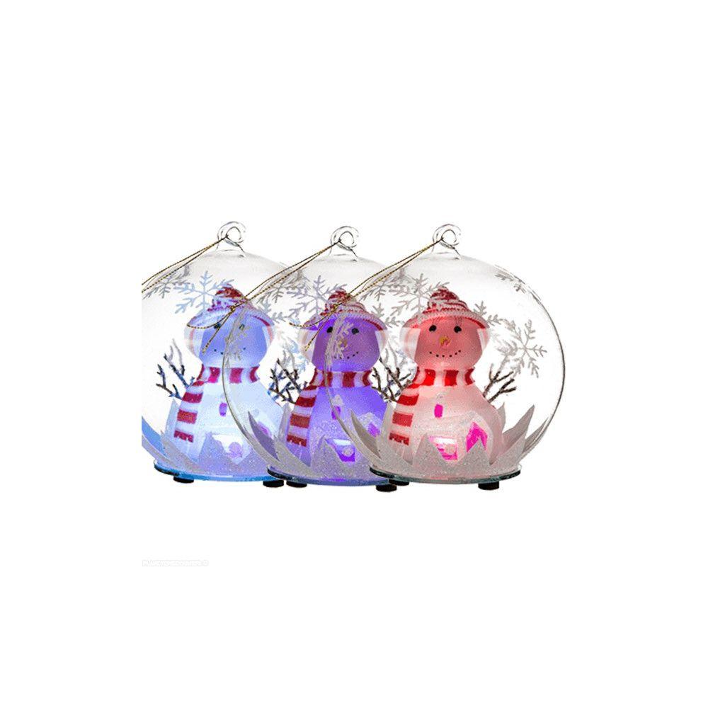 boule de no l en verre boule lumineuse bonhomme de neige. Black Bedroom Furniture Sets. Home Design Ideas