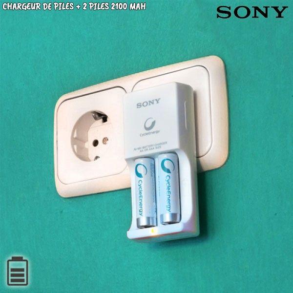 Chargeur de piles SONY avec piles rechargeables AA 2100mAh