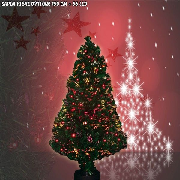Sapin de Noël fibre optique avec 56 LED - 150 cm