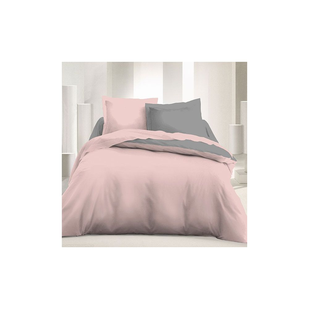 parure de couette r versible microfibre 240x220 cm rose. Black Bedroom Furniture Sets. Home Design Ideas