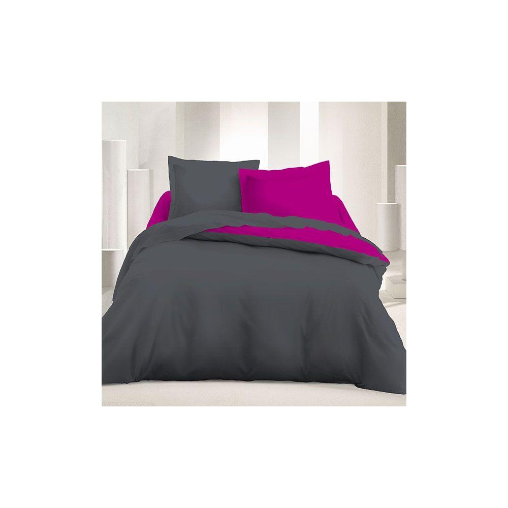 Parure de couette r versible 240x220 cm gris fonc - Parure de lit discount ...