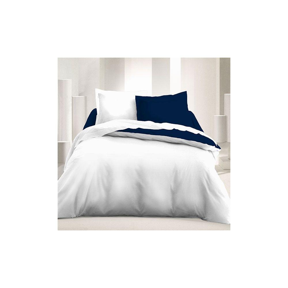 achat parure de couette r versible 240x220 cm indigo blanc pas cher. Black Bedroom Furniture Sets. Home Design Ideas