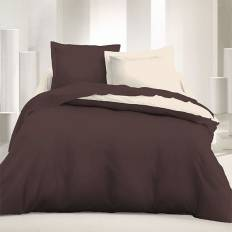 Achat parure de couette r versible 240 x 220 cm marron - Parure de lit beige et marron ...