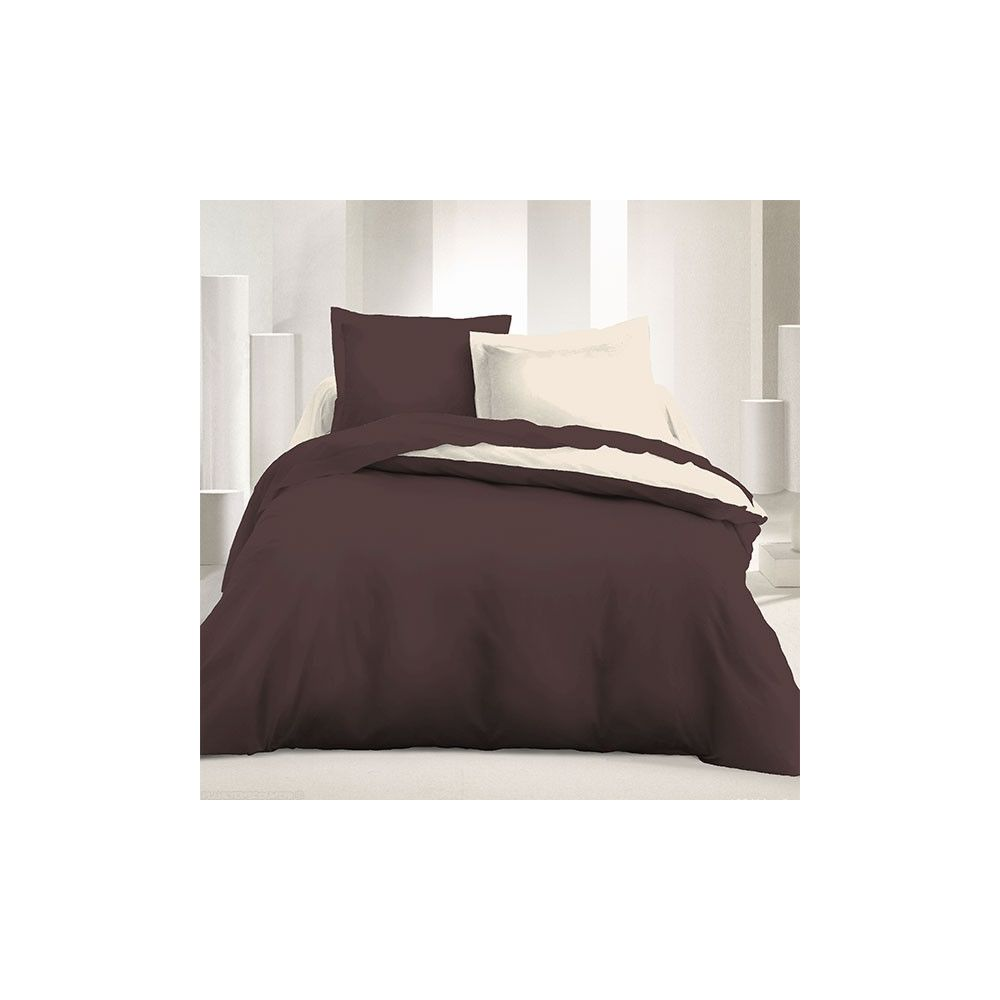 achat parure de couette r versible 240 x 220 cm marron. Black Bedroom Furniture Sets. Home Design Ideas