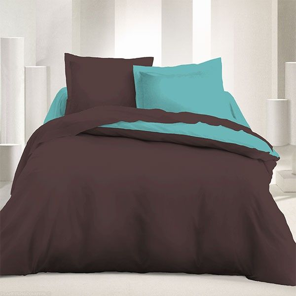 parure de couette r versible 240x220 cm marron turquoise pas cher. Black Bedroom Furniture Sets. Home Design Ideas