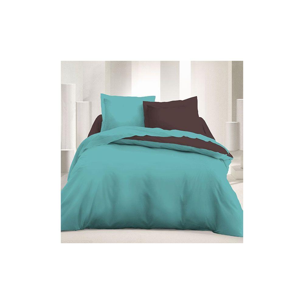 parure de couette r versible 240x220 cm marron turquoise pas cher. Black Bedroom Furniture Sets. Home Design Ideas