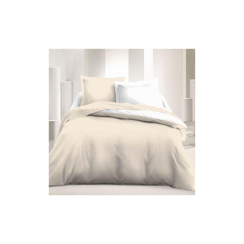 Achat parure de couette r versible 240x220 cm blanc beige pas cher - Parures de couettes 220 x 240 cm ...