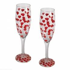 Flûte de Champagne avec motif petits coeurs x2