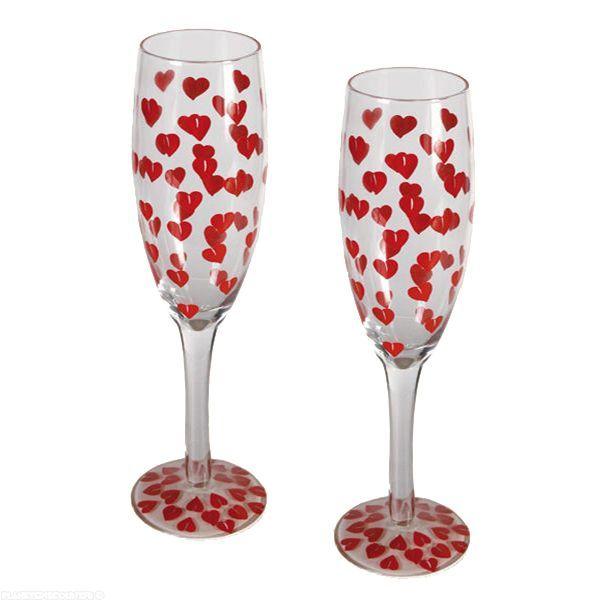 achat fl te de champagne avec motif petits coeurs x2 pas cher. Black Bedroom Furniture Sets. Home Design Ideas