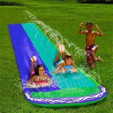 Tapis piste de glisse double avec jets d'eau