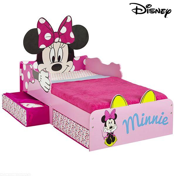 achat lit enfant minnie avec rangements disney 140x70 cm. Black Bedroom Furniture Sets. Home Design Ideas