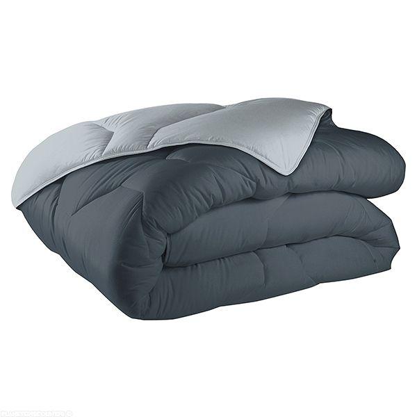 Couette réversible coton 140x200 cm 570 gr/m² gris clair gris foncé