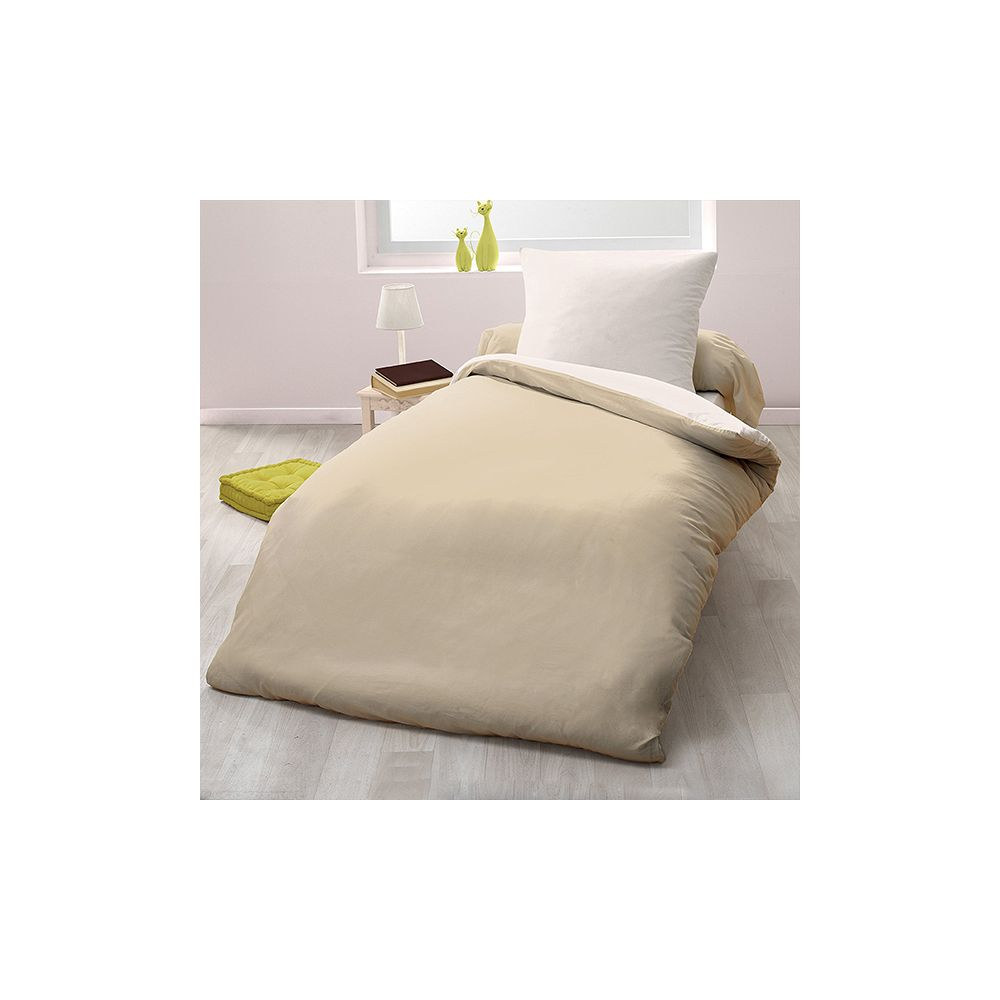 achat parure de couette bicolore microfibre 140x200 cm sable ivoire pas cher. Black Bedroom Furniture Sets. Home Design Ideas