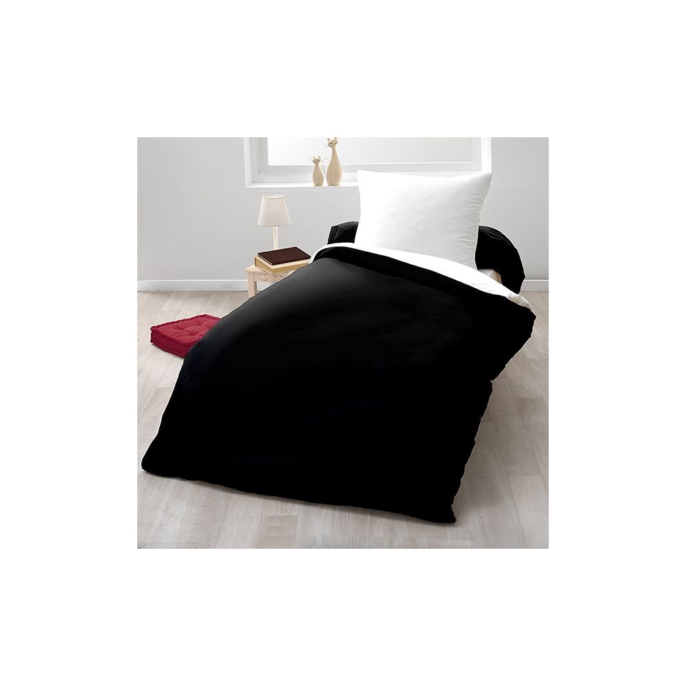 achat parure de couette bicolore microfibre 140x200 cm noir blanc pas cher. Black Bedroom Furniture Sets. Home Design Ideas