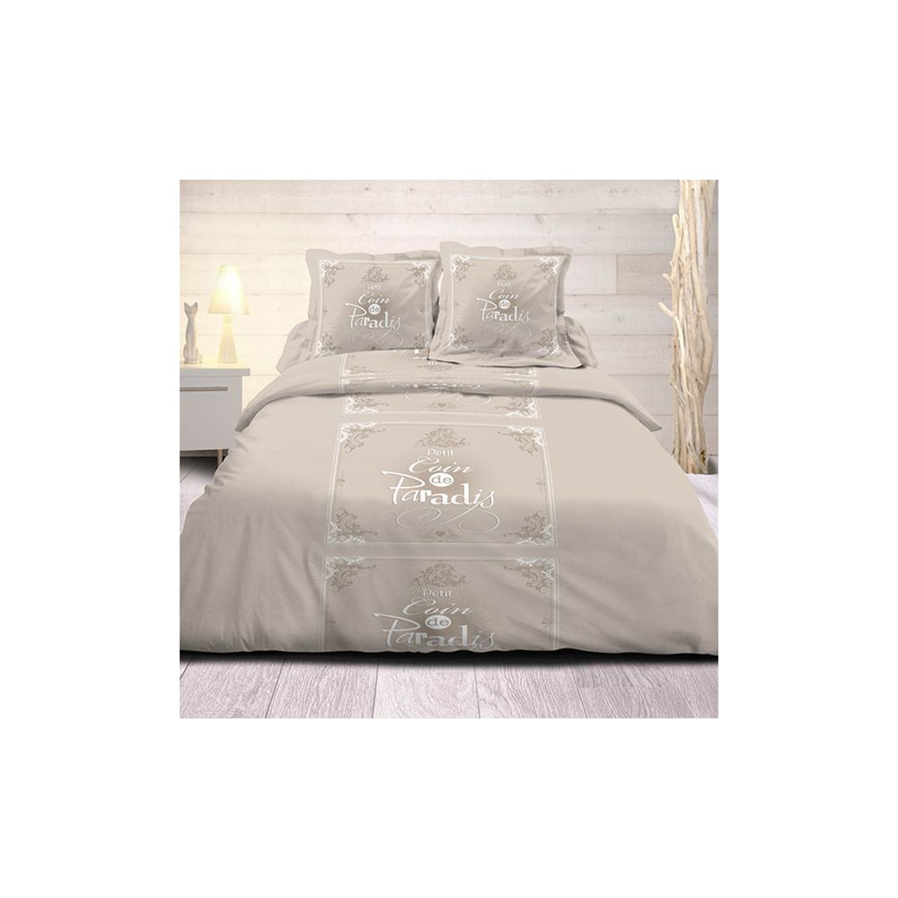 achat housse de couette 240x220 cm 100 coton coin de paradis beige pas cher. Black Bedroom Furniture Sets. Home Design Ideas