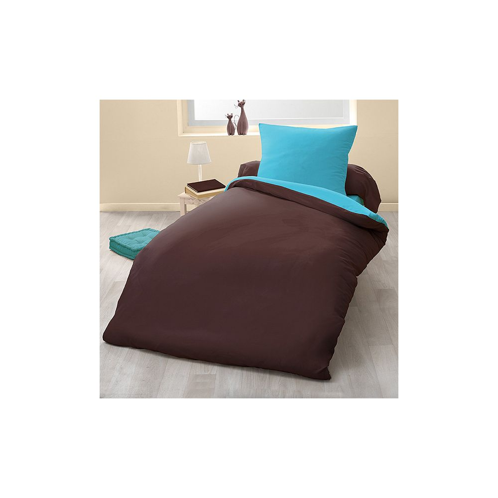 achat parure de couette bicolore microfibre 140x200 cm chocolat turquoise pas cher. Black Bedroom Furniture Sets. Home Design Ideas