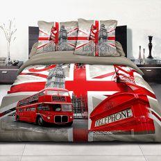achat housse de couette coton 220x240 cm londres r tro pas. Black Bedroom Furniture Sets. Home Design Ideas